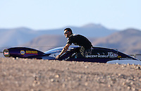 Mar 28, 2014; Las Vegas, NV, USA; NHRA pro stock driver Vincent Nobile during qualifying for the Summitracing.com Nationals at The Strip at Las Vegas Motor Speedway. Mandatory Credit: Mark J. Rebilas-USA TODAY Sports