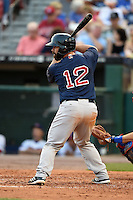 Pawtucket Red Sox catcher Dan Butler (12) at bat during a game against the Buffalo Bisons on August 26, 2014 at Coca-Cola Field in Buffalo, New  York.  Pawtucket defeated Buffalo 9-3.  (Mike Janes/Four Seam Images)