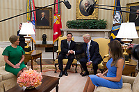 United States President Donald J. Trump shakes hands with President Juan Carlos Varela of Panama in the Oval Office of the White House in Washington, DC on June 19, 2017.  Also seated are Lorena Castillo, left, and first lady Melanie Trump, right. <br /> Credit: Molly Riley / CNP /MediaPunch