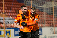 16th November 2019; Tannadice Park, Dundee, Scotland; Scottish Championship Football, Dundee United versus Queen of the South; Sam Stanton of Dundee United is congratulated after scoring for 3-0 by Paul McMullan  - Editorial Use