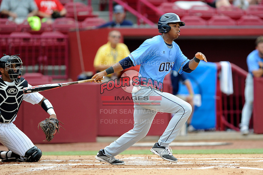 Left fielder Josh Eldridge (24) of the Old Dominion Monarchs in an NCAA Division I Baseball Regional Tournament game against the Maryland Terrapins on Friday, May 30, 2014, at Carolina Stadium in Columbia, South Carolina. Maryland won, 4-3. (Tom Priddy/Four Seam Images)