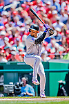 14 April 2018: Colorado Rockies outfielder Carlos Gonzalez in action against the Washington Nationals at Nationals Park in Washington, DC. The Nationals rallied to defeat the Rockies 6-2 in the 3rd game of their 4-game series. Mandatory Credit: Ed Wolfstein Photo *** RAW (NEF) Image File Available ***