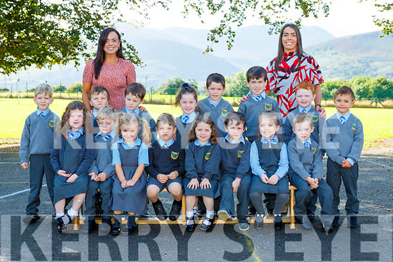 Junior Infants from Cullina NS Beaufort with their teacher Lorraine Counihan and SNA Sarah Houlihan on their first day of school on Wednesday