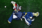 FOXBORO, MA - MAY 28: A detailed view of lacrosse pads during the Division II Men's Lacrosse Championship held at Gillette Stadium on May 28, 2017 in Foxboro, Massachusetts. (Photo by Larry French/NCAA Photos via Getty Images)