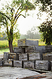 USA, California, Sonoma, Gundlach Bundschu Winery, weathered wine boxes stacked on the back of an old truck