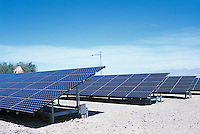 Death Valley National Park, California, CA, USA - Large Solar Power Panels at the Furnace Creek Visitor Center