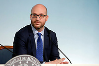 The newly appointed Minister of foreign affairs Lorenzo Fontana <br /> Rome July 11th 2019. The Italian Premier presents to the press the newly appointed Ministers<br /> Foto Samantha Zucchi Insidefoto