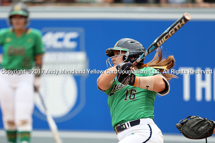 CHAPEL HILL, NC - MAY 11: Notre Dame's Caitlyn Brooks. The #4 Boston College Eagles played the #5 University of Notre Dame Fighting Irish on May 11, 2017, at Anderson Softball Stadium in Chapel Hill, NC in a 2017 Atlantic Coast Conference Tournament Quarterfinal Softball game. Notre Dame won the game 9-5 in eight innings.