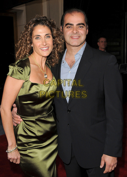 MELINA KANAKAREDES & HUSBAND..attends The 7th Annual Comedy for a Cure benefiting The Tuberous Sclerosis Alliance held at Avalon in Hollywood, California, USA, April 06th 2008.                                                                     ..half length green silk satin dress ..CAP/DVS..©Debbie VanStory/Capital Pictures