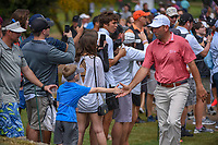 Josh Teater (USA) high fives a young fan enroute to the tee on 11 during day 3 of the Valero Texas Open, at the TPC San Antonio Oaks Course, San Antonio, Texas, USA. 4/6/2019.<br /> Picture: Golffile | Ken Murray<br /> <br /> <br /> All photo usage must carry mandatory copyright credit (© Golffile | Ken Murray)