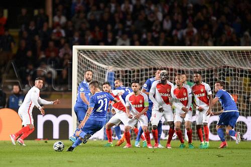 May 3rd 2017, Stade Louis II, Monaco,France; UEFA Champions league football semi-final, AS Monaco versus Juventus;  21 Paulo Dybala (juv) gets a free kick over the Monaco wall