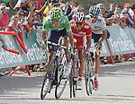 Alejandro Valverde, Joaquin Purito Rodriguez and Alberto Contador during the stage of La Vuelta 2012 between La Robla and Lagos de Covadonga.September 2,2012. (ALTERPHOTOS/Acero)