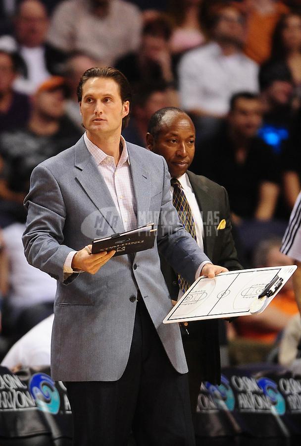 Dec. 8, 2010; Phoenix, AZ, USA; Memphis Grizzlies athletic trainer Drew Graham against the Phoenix Suns at the US Airways Center. Memphis defeated Phoenix 104-98 in overtime. Mandatory Credit: Mark J. Rebilas-