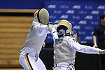 DURHAM, NC - FEBRUARY 26: Notre Dame's Hazem Khazbak (EGY) (left) and Axel Kiefer (right) compete in a Men's Foil semifinal bout. The Atlantic Coast Conference Fencing Championships were held on February, 26, 2017, at Cameron Indoor Stadium in Durham, NC.