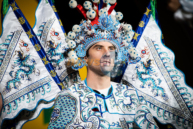 White Jersey Pierre Roger Latour (FRA) wearing a Bejing Opera costume on stage at the media day before the 2018 Shanghai Criterium, Shanghai, China. 16th November 2018.<br /> Picture: ASO/Pauline Ballet | Cyclefile<br /> <br /> <br /> All photos usage must carry mandatory copyright credit (&copy; Cyclefile | ASO/Pauline Ballet)