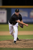 Modesto Nuts relief pitcher Seth Elledge (43) follows through on his delivery during a California League game against the Lake Elsinore Storm at John Thurman Field on May 11, 2018 in Modesto, California. Modesto defeated Lake Elsinore 3-1. (Zachary Lucy/Four Seam Images)