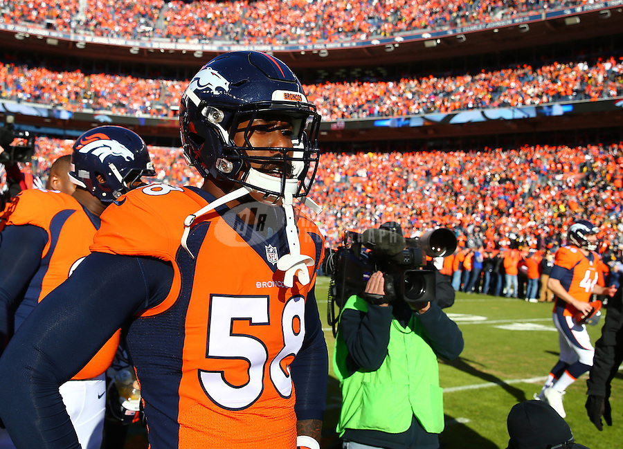 Jan 17, 2016; Denver, CO, USA; Denver Broncos linebacker Von Miller (58) against the Pittsburgh Steelers during the AFC Divisional round playoff game at Sports Authority Field at Mile High. Mandatory Credit: Mark J. Rebilas-USA TODAY Sports