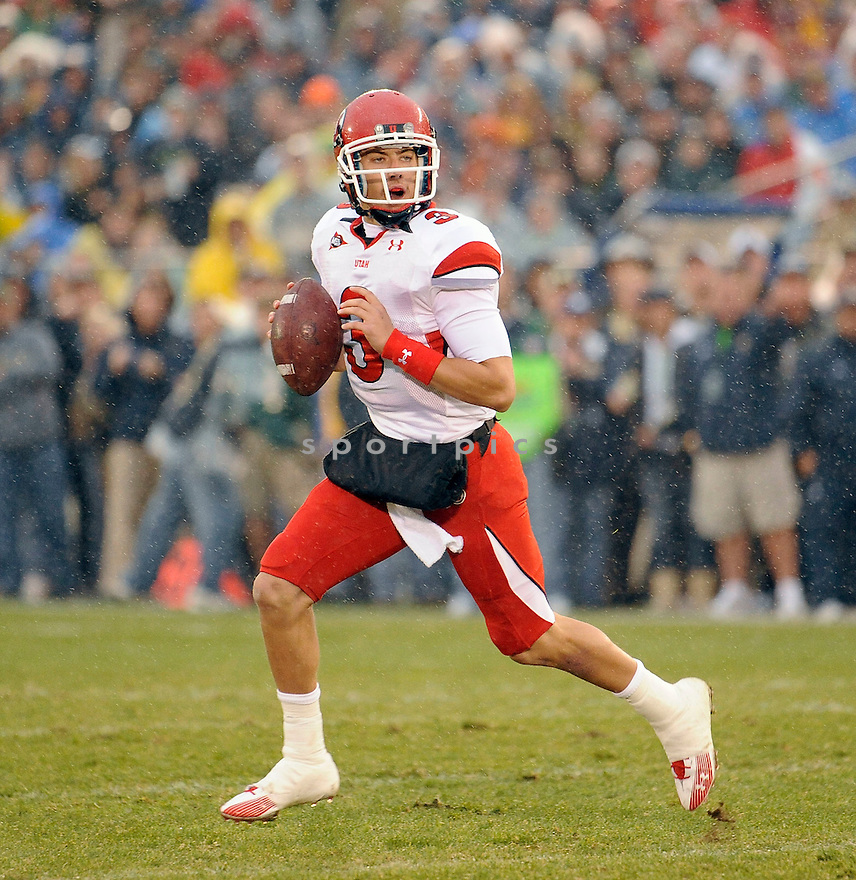 JORDAN WYNN, of theUtah Utes, in action during the Utah game against the Notre Dame Fighting Irish on November 13, 2010 at Notre Dame Stadium in South Bend, Indiana. ..Notre Dame beat Utah 28-3...SportPics