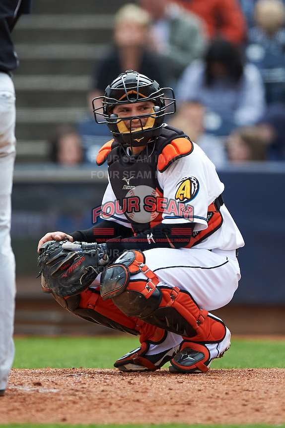 Akron RubberDucks catcher Tony Wolters (1) looks to the dugout during a game against the New Britain Rock Cats on May 21, 2015 at Canal Park in Akron, Ohio.  Akron defeated New Britain 4-2.  (Mike Janes/Four Seam Images)
