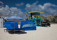 Lounge Chairs and Lifeguard Tower, South Beach, Miami, Florida