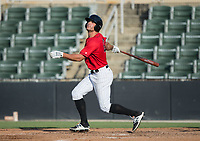 Aaron Schnurbusch (21) of the Kannapolis Intimidators follows through on his swing against the Delmarva Shorebirds at Kannapolis Intimidators Stadium on July 2, 2017 in Kannapolis, North Carolina.  The Shorebirds defeated the Intimidators 5-4.  (Brian Westerholt/Four Seam Images)