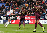 Bolton Wanderers' Joe Williams heads at goal<br /> <br /> Photographer Andrew Kearns/CameraSport<br /> <br /> The EFL Sky Bet Championship - Bolton Wanderers v Swansea City - Saturday 10th November 2018 - University of Bolton Stadium - Bolton<br /> <br /> World Copyright © 2018 CameraSport. All rights reserved. 43 Linden Ave. Countesthorpe. Leicester. England. LE8 5PG - Tel: +44 (0) 116 277 4147 - admin@camerasport.com - www.camerasport.com