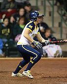 Michigan Wolverines Softball outfielder Kelly Christner (21) at bat during a game against the University of South Florida Bulls on February 8, 2014 at the USF Softball Stadium in Tampa, Florida.  Michigan defeated USF 3-2.  (Copyright Mike Janes Photography)