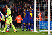 7th January 2018, Camp Nou, Barcelona, Spain; La Liga football, Barcelona versus Levante; Suarez from FC Barcelona celebrating with Paulinho for their 3rd goal in the last minute of the game