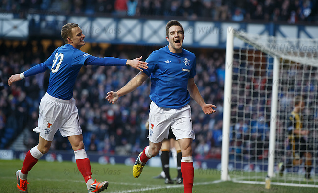 Andy Little celebrates his goal for Rangers with fellow Ulsterman Dean Shiels