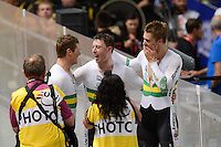 MATTHEW GLAETZER, SCOTT SUNDERLAND and SHANE PERKINS of the Australian team celebrate winning the Team Sprint on day 1 of the 2012 UCI Track Cycling World Championships at Hisense Arena in Melbourne, Australia. Photo Sydney Low. Copyright Sydney Low. All rights reserved. No reproduction permitted. Access via FlickrAPI not permitted.