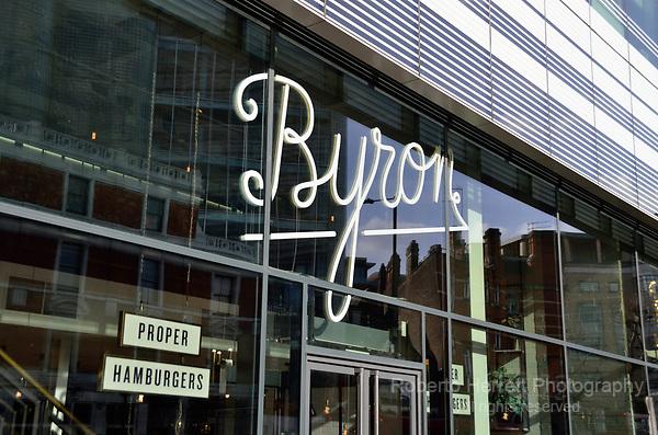 Byron hamburger restaurant in Hammersmith Grove, Hammersmith, London, UK.