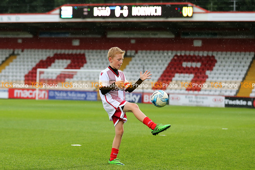 A Stevenage mascot demonstrates his football skills prior to kick-off during Stevenage vs Norwich City, Friendly Match Football at the Lamex Stadium on 11th July 2017