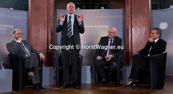 Brussels-Belgium - February 01, 2012 -- Visit to Brussels by Prof. Dr. Norbert LAMMERT (2.le), President / Speaker of the German Parliament (Deutscher Bundestag); here, in a panel debate at Bibliotheque Solvay with MEP Martin SCHULZ (le), President of the European Parliament; Rolf-Dieter KRAUSE (2.ri), Director ARD-Studios Brussels / Moderator; Günther (Guenther, Gunther) OETTINGER (ri), EU-'Energy'-Commissioner -- Photo: © HorstWagner.eu