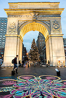 New York, NY 12 December 2015 - Christmas tree under the arch in Washington Square