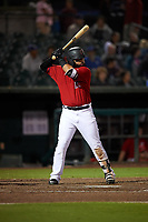 Inland Empire 66ers designated hitter Julian Leon (37) at bat during a California League game against the Lancaster JetHawks at San Manuel Stadium on May 18, 2018 in San Bernardino, California. Lancaster defeated Inland Empire 5-3. (Zachary Lucy/Four Seam Images)