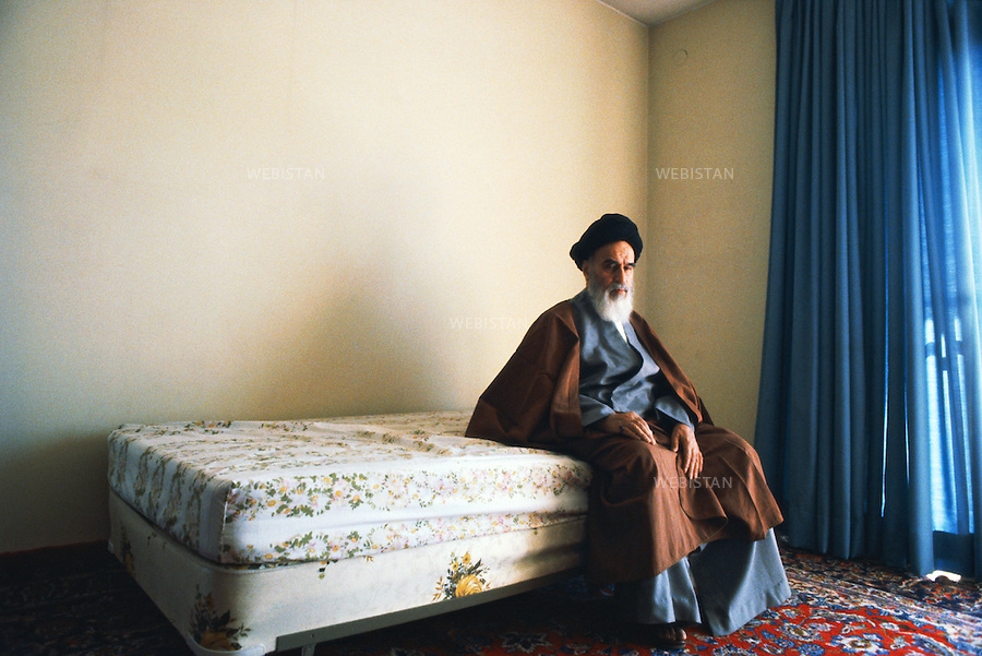 TEHRAN, IRAN - 1979: Ayatollah Khomeini, the religious leader of the 1979 Iranian revolution, shortly after his arrival in Tehran, in the bedroom of his first house. (Photo by Reza/Getty Images)<br />