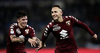 Calcio, Serie A: Roma, stadio Olimpico, 11 dicembre 2017.<br /> Torino's Simone Edera (r) celebrates after scoring with his teammate Daniele Baselli (l) during the Italian Serie A football match between Lazio and Torino at Rome's Olympic stadium, December 11, 2017.<br /> UPDATE IMAGES PRESS/Isabella Bonotto
