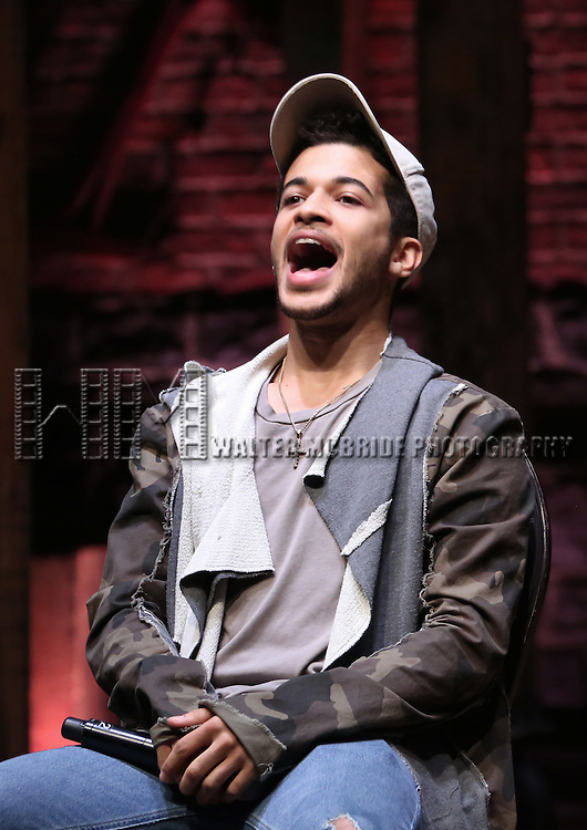 Jordan Fisher greets students during a cast Q & A before The Rockefeller Foundation and The Gilder Lehrman Institute of American History sponsored High School student matinee performance of  'Hamilton' at the Richard Rodgers Theatre on 2/8/2017 in New York City.