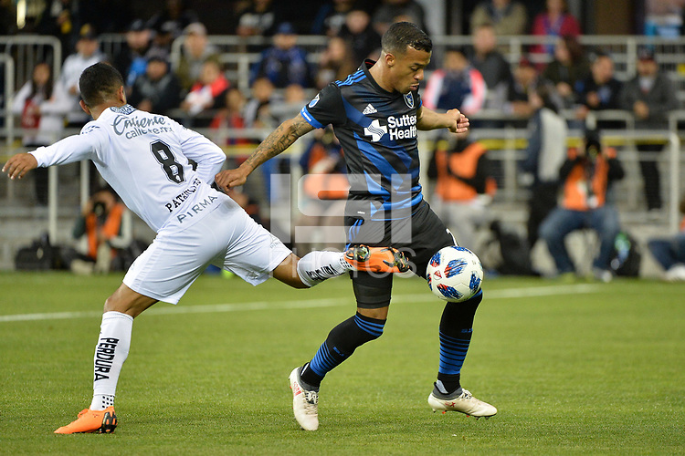 San Jose, CA - Saturday March 24, 2018: Elías Hernández, Joel Qwiberg during an international friendly between the San Jose Earthquakes and Club Leon FC at Avaya Stadium.