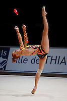 Natalya Godunko of Ukraine balances with trunk in horizontal during All-Around at 2006 Thiais Grand Prix in Paris, France on March 25, 2006.  (Photo by Tom Theobald)<br />