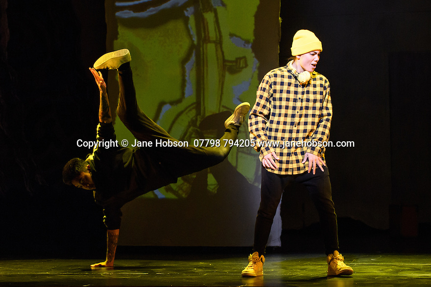"""London, UK. 04.05.2016. ZooNation Dance Company  present """"Into the Hoods: Remixed"""" at the Peacock Theatre. Picture shows:  Lucinda Wessels (Spinderella). Photograph © Jane Hobson."""