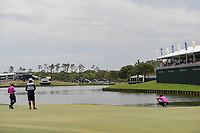 Brooks Koepka (USA) lines up his 12 foot birdie attempt on 18 during round 4 of The Players Championship, TPC Sawgrass, at Ponte Vedra, Florida, USA. 5/13/2018.<br /> Picture: Golffile | Ken Murray<br /> <br /> <br /> All photo usage must carry mandatory copyright credit (&copy; Golffile | Ken Murray)