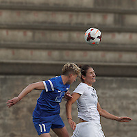 Allston, Massachusetts - June 11, 2014: First half action. In a National Women's Soccer League (NWSL) match, Boston Breakers (blue) vs Washington Spirit (white), 2-0 (halftime), at Harvard Stadium.
