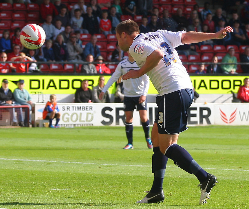 Preston North End's Joel Byrom scores his sides first goal  ..Football - npower Football League Division One - Walsall v Preston North End - Saturday 22nd September 2012 - Banks's Stadium - Walsall..
