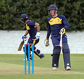 Cricket Scotland - T20 Blitz - Caledonian Highlanders' Scott Cameron makes runs with Safyaan Sharif on their way to a 130 run partnership to see their side to victory - picture by Donald MacLeod - 03.09.08.2017 - 07702 319 738 - clanmacleod@btinternet.com - www.donald-macleod.com