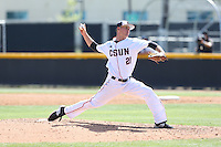 Calvin Copping (21) of the Cal State Northridge Matadors pitches during a game against the UC Santa Barbara Gouchos at Matador Field on April 10, 2015 in Northridge, California. UC Santa Barbara defeated Cal State Northridge, 7-4. (Larry Goren/Four Seam Images)
