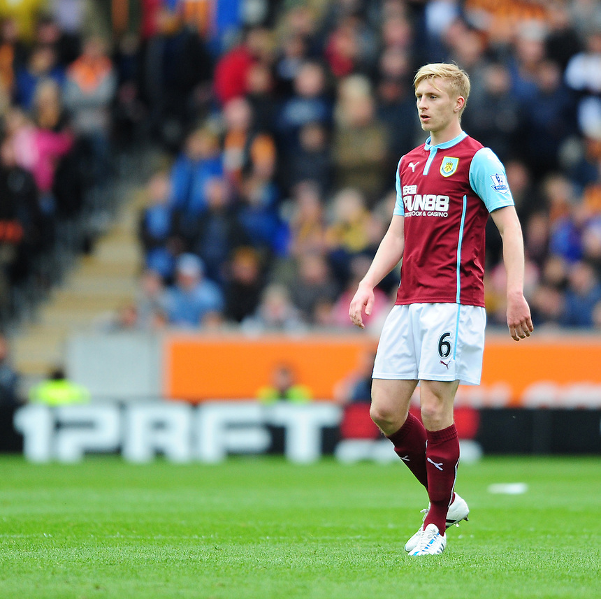 Burnley's Ben Mee<br /> <br /> Photographer: Chris Vaughan/CameraSport<br /> <br /> Football - Barclays Premiership - Hull City v Burnley - Saturday 9th May 2015 - Kingston Communications Stadium - Hull<br /> <br /> &copy; CameraSport - 43 Linden Ave. Countesthorpe. Leicester. England. LE8 5PG - Tel: +44 (0) 116 277 4147 - admin@camerasport.com - www.camerasport.com