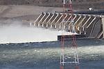 Columbia River, Wanapum Dam, Grant County Public Utility District, spring runoff, Columbia Basin, eastern Washington, Washington State, Pacific Northwest, USA, North America,