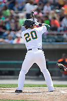 Clint Frazier (20) of the Lynchburg Hillcats at bat against the Frederick Keys at Calvin Falwell Field at Lynchburg City Stadium on May 14, 2015 in Lynchburg, Virginia.  The Hillcats defeated the Keys 6-3.  (Brian Westerholt/Four Seam Images)