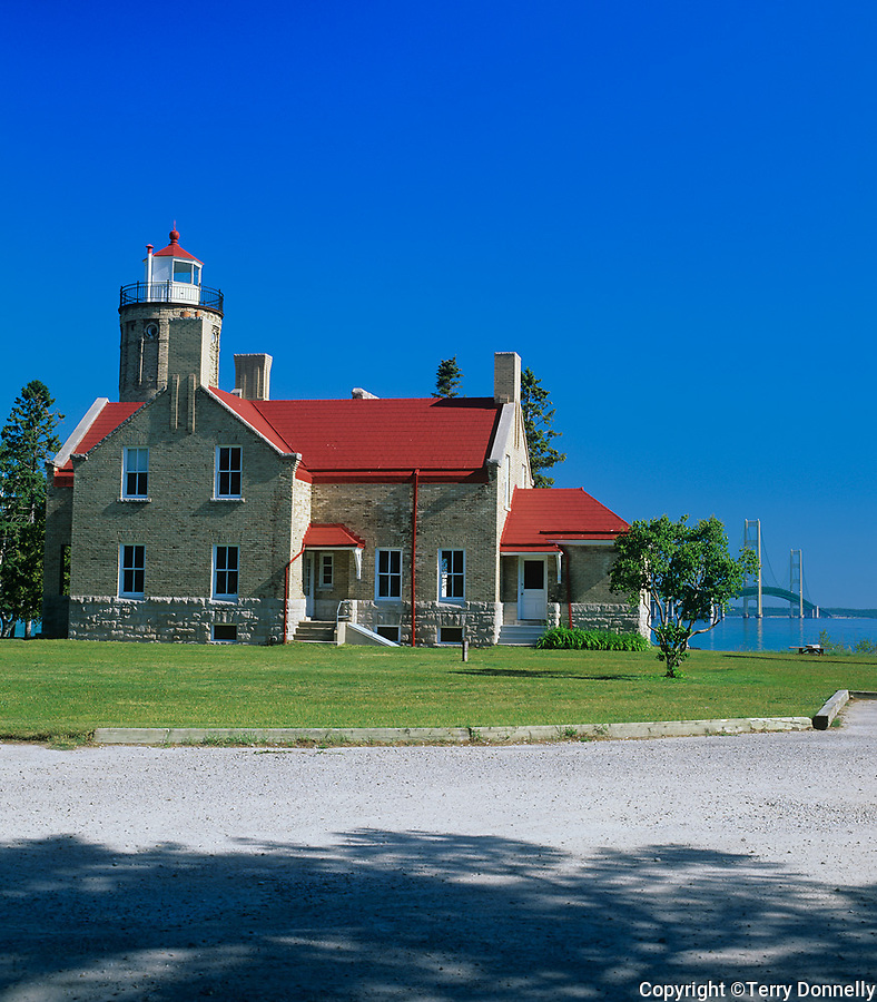 Cheboygan County, MI <br /> Old Mackinac Point Light (1898) on the Straits of Mackinac, between lakes Michigan and Huron